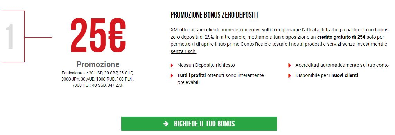 bonus 25€ senza deposito xm